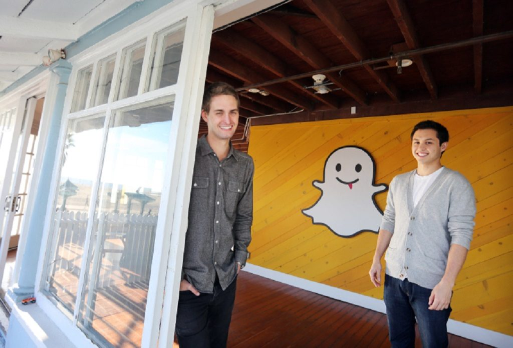 Evan Spiegel and Bobby Murphy, developers of Snapchat (Photo by J. Emilio Flores/Corbis via Getty Images)